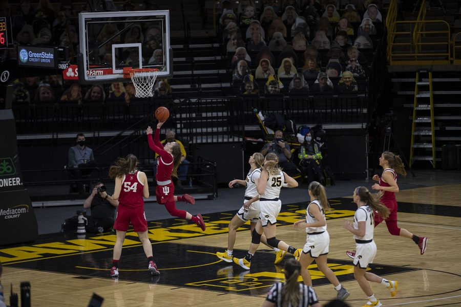 One of Indiana's players drives to the hoop for a layup during the Iowa Women's Basketball game against Indiana at Carver Hawkeye Arena on Sunday, Feb. 7, 2021. Indiana defeated Iowa 85-72.