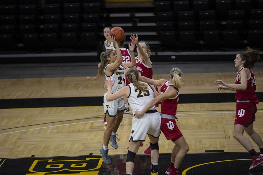Gabbie Marshall drives to the hoop during the Iowa Women's Basketball game against Indiana at Carver Hawkeye Arena on Sunday, Feb. 7, 2021. Indiana defeated Iowa 85-72.