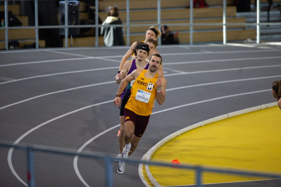 Minnesota's Ben Psicihulis leads Iowa's Austin Lietz and company. Psicihulis won the men's 600-meter premier run with a time of 24.10 Lietz finished second with a time of 24.262 seconds during the Hawkeye B1G Invitational track meet at the University of Iowa Recreation Building on Saturday, Feb. 13 , 2021.
