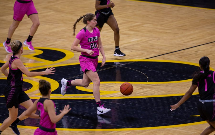 Iowa%27s+Kate+Martin+dribbles+the+basketball+down+the+floor+on+a+fast+break+during+a+women%E2%80%99s+basketball+game+between+the+Iowa+Hawkeyes+and+the+Penn+State+Nittany+Lion%E2%80%99s+at+Carver+Hawkeye+Arena+on+Thursday%2C+Feb.+18%2C+2021.+Iowa+Defeated+Penn+State+96-78.