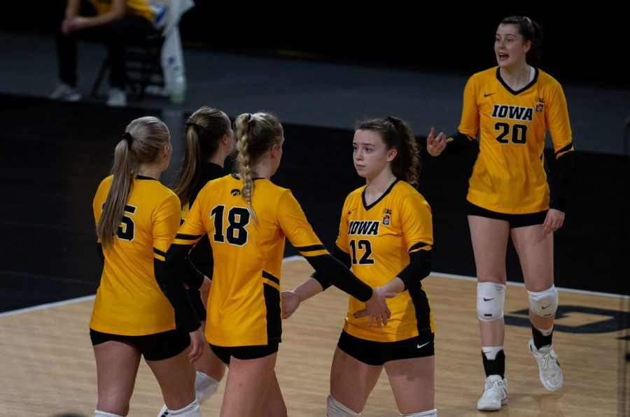 Iowa Setter Bailey Ortega comes off the court trailing late in the final set during a women's volleyball match between Iowa and Rutgers at Xtream Arena on Saturday, Feb. 20, 2021. The Scarlet Knights defeated the Hawkeyes 3 sets to 2.