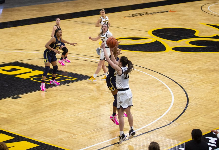 Iowa Guard Caitlin Clark releases from the corner during a women