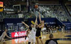 Iowa Center Luka Garza (55) shoots the basketball during the first half of the men's basketball game against the University of Michigan at Crisler Arena in Ann Arbor on Thursday, February 25, 2021. Michigan leads at the half, 32-29. (Jake Maish/The Daily Iowan)