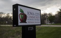 A sign for the Iowa City Community School District is seen outside the districts administration building on Tuesday, April 28. (Jake Maish/The Daily Iowan)