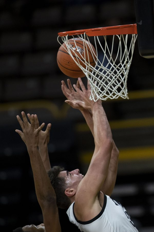 Iowa center Luka Garza attempts a shot during the Iowa men's basketball game against the Southern University Jaguars at Carver-Hawkeye Arena on Friday, Nov. 27, 2020. The Hawkeyes defeated the Jaguars 103-76 in their first game against them since 2017. Garza scores 36 points in the first half and 41 overall against Southern. (Jenna Galligan/The Daily Iowan)