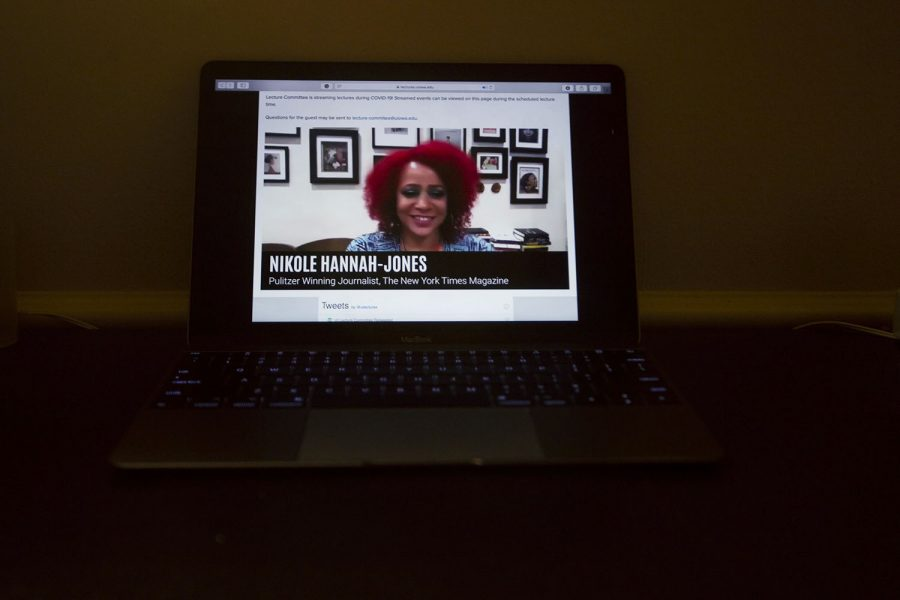 Nikole Hannah-Jones speaking with the university lecture committee in a virtual setting on Tuesday, Sept 22, 2020. Nikole spoke on her 1619 project about the continuing history of American slavery.