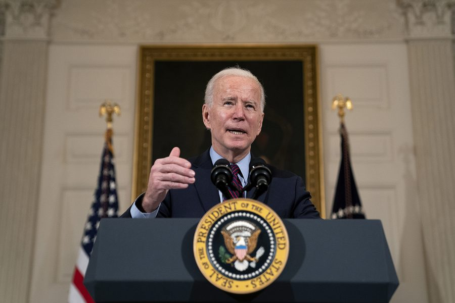 President Joe Biden delivers remarks on the national economy in the State Dining Room at the White House in Washington, D.C., on Feb. 5, 2021.