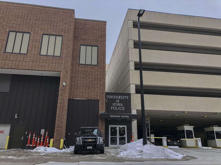 The University of Iowa Police Station is seen on Monday, Feb. 15, 2021.