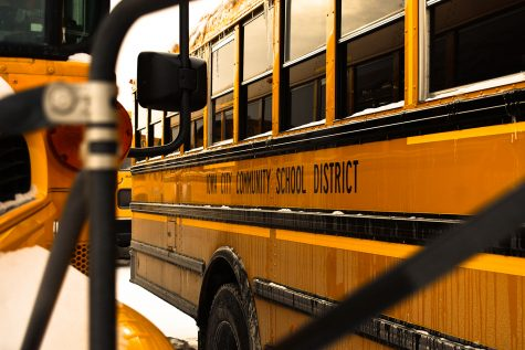 Iowa City Community school buses are seen outside of Liberty High School on Sunday, Feb. 14, 2021.