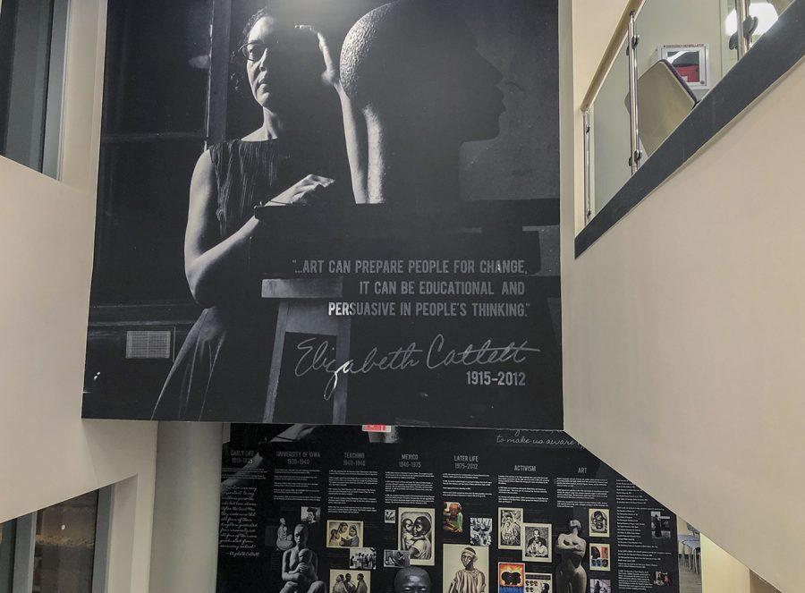 Artwork of Elizabeth Catlett, University of Iowa alumna and artist, is seen in Catlett Residence Hall on Monday, Feb. 15, 2021.