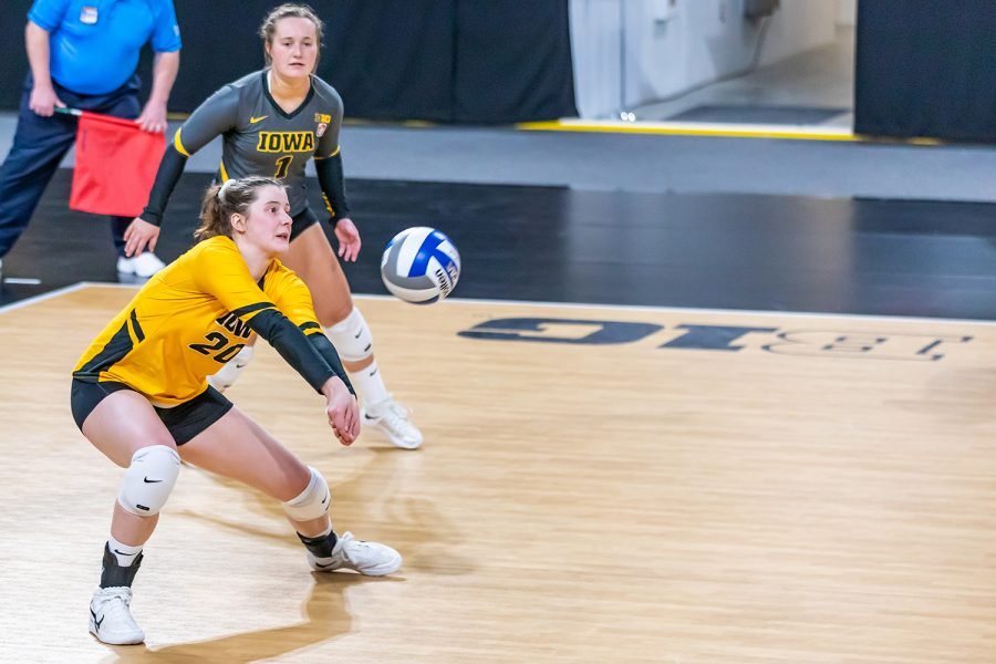 Iowa Outside Hitter Edina Schmidt bumps the ball during the Iowa Volleyball game against Indiana on Feb. 6, 2021 at Xtream Arena. Indiana defeated Iowa 3-2.