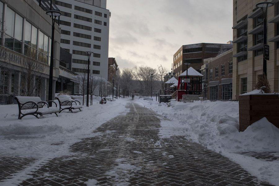 Downtown Iowa City is seen on Feb. 4, 2021
