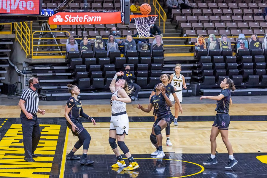 Iowa Forward/Center Monika Czinano watches after going in for a layup during the Iowa Women's Basketball game against Northwestern on Jan. 28, 2021 at Carver-Hawkeye Arena. Northwestern defeated Iowa 87-80.