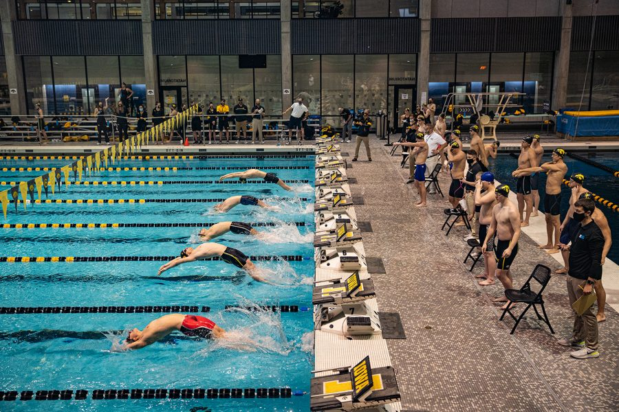 The+men%27s+medley+relay+is+underway+during+a+swim+meet+at+the+Campus+Recreation+and+Wellness+Center+on+Saturday%2C+Jan.+16%2C+2021.+The+women%27s+team+hosted+Nebraska+while+the+men%27s+team+had+an+intrasquad+scrimmage.+