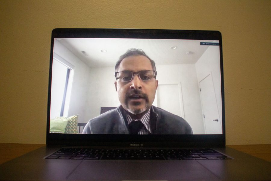 CEO of University of Iowa Hospitals and Clinics and Associate Vice President of University of Iowa Health Care, Suresh Gunasekaran, speaks during the Iowa Board of Regents meeting on Wednesday, Feb. 24 over Zoom. Gunasekaran spoke about case mix index, patient satisfaction and quality scores.