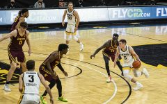 Iowa guard CJ Fredrick dribbles during a men's basketball game between Iowa and Minnesota at Carver-Hawkeye Arena on Sunday, Jan. 10, 2021. The Hawkeyes defeated the Golden Gophers, 86-71.