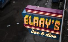 A shot of Elrays Live and Dive neon sign taken from the roof of said establishment in Iowa City on Tuesday, Nov. 10, 2020.