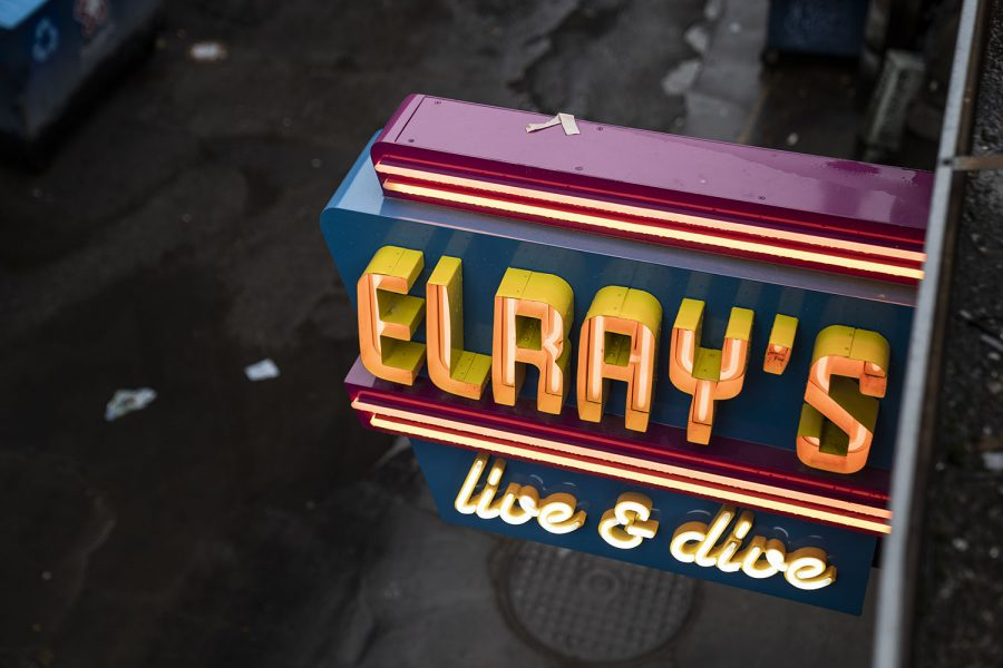 A shot of Elray's Live and Dive neon sign taken from the roof of said establishment in Iowa City on Tuesday, Nov. 10, 2020. (Matthew Hsieh/The Daily Iowan)
