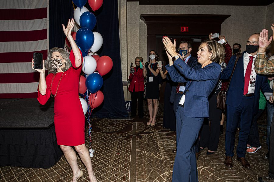 Gov. Kim Reynolds introduces U.S. Sen. Joni Ernst R-IA at the republican watch party at the Des Moins Marriott Downtown on Tuesday, November 3rd, 2020 . Republicans from across the state have gathered to watch the results of the 2020 General Election.