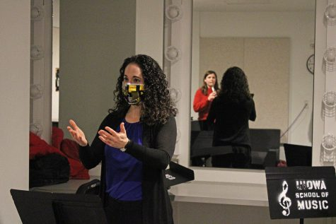 Dr. Courtney Miller is seen during an oboe lesson with Allyson Kegel at the Voxman Music Building on Feb. 23. Kegel is a senior studying music education and oboe performance while Miller is an assistant professor of oboe.