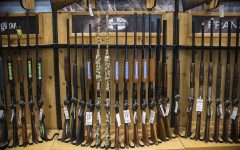 Guns are displayed at Scheels in Coralville on Tuesday, April 11. The Iowa House recently accepted the stand-your-ground-provision, an amendment to HF 517, which permits an individual to use deadly force when their life is in danger.