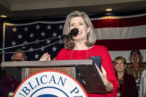 U.S. Sen. Joni Ernst R-IA speaks at the republican watch party at the Des Moines Marriott Downtown on Tuesday, November 3rd, 2020. Republicans from across the state have gathered to watch the results of the 2020 General Election.