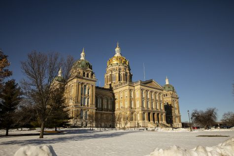 The Iowa State Capitol Building is seen on Tuesday, Jan. 12, 2021 in Des Moines. Tuesday marks the second day of the 2021 Iowa legislative session, including the annual State of the State address given by Gov. Kim Reynolds.