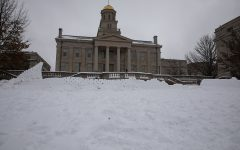 The Old Capitol from behind a snow fort wall, on Wednesday, Jan 6, 2021.
