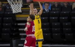 Iowa guard CJ Fredrick shoots a basket during a men's basketball game against Indiana on Thursday, Jan. 21, 2021 at Carver Hawkeye Arena. The Hawkeyes were defeated by the Hoosiers, 69-81.