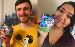 Co-hosts of The Flavorcast Jacob Ohrt (left) and Brillian Qi-Bell (right) pose with a pint of Ben and Jerry's Ice Cream. (Contributed)