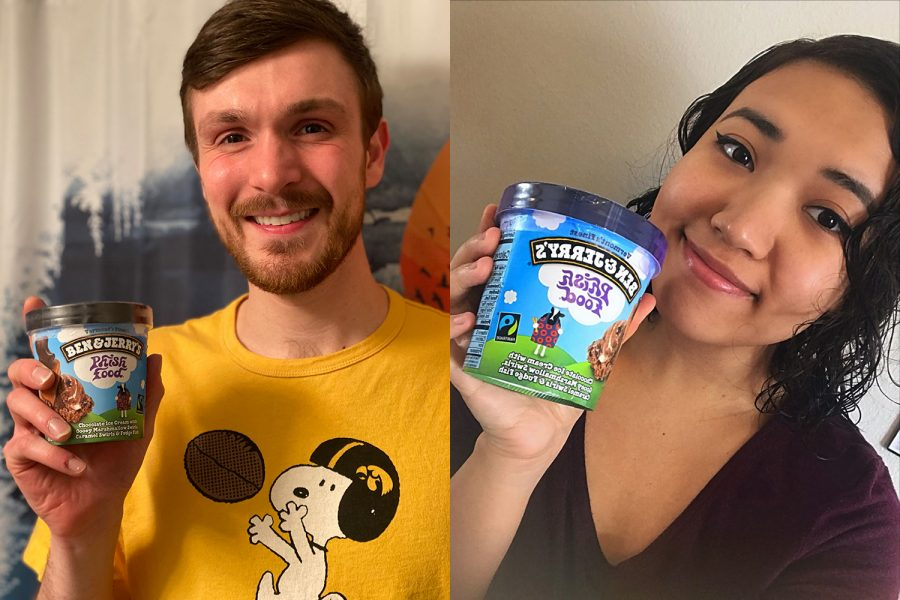 Co-hosts+of+The+Flavorcast+Jacob+Ohrt+%28left%29+and+Brillian+Qi-Bell+%28right%29+pose+with+a+pint+of+Ben+and+Jerry%E2%80%99s+Ice+Cream.+%28Contributed%29+