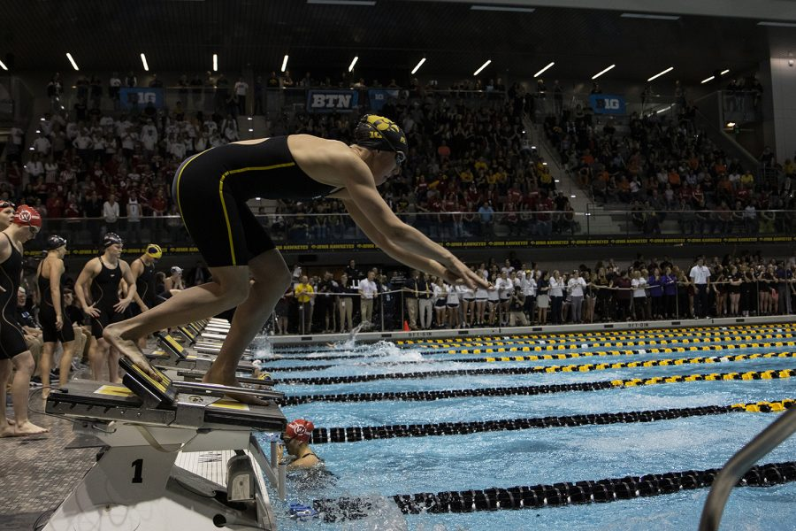 Hawkeyes compete in the 400 yard freestyle during the last session of the 2020 Women's Big Ten Swim and Dive Championship on Saturday, Feb. 22, 2020 at the Campus Recreation and Wellness Center. Ohio State won the championships with an overall score of 1503.5 (Katie Goodale/The Daily Iowan)