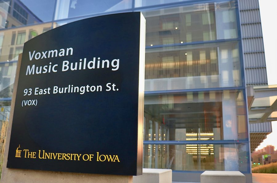 The Voxman Music Building is seen on Monday, Aug. 24, 2020.