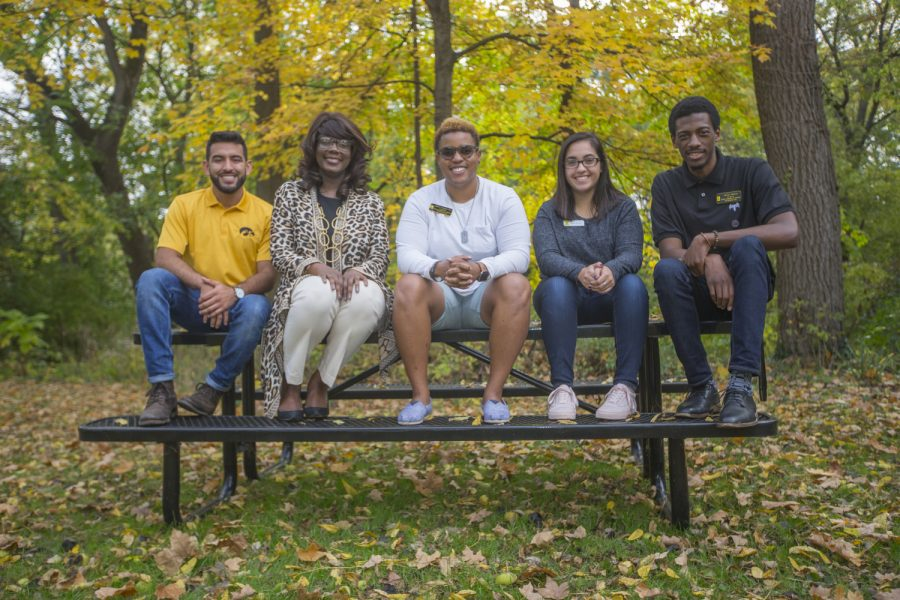 From left: Jesus Payan, VP for Student Life Melissa Shivers, Tab Wiggins, Prisma Ruacho, and Jamal Nelson sit outside the Asian Pacific American Cultural Center during an interview with Shivers and leaders from the UI cultural and resource centers on Friday, Oct. 20, 2017. =