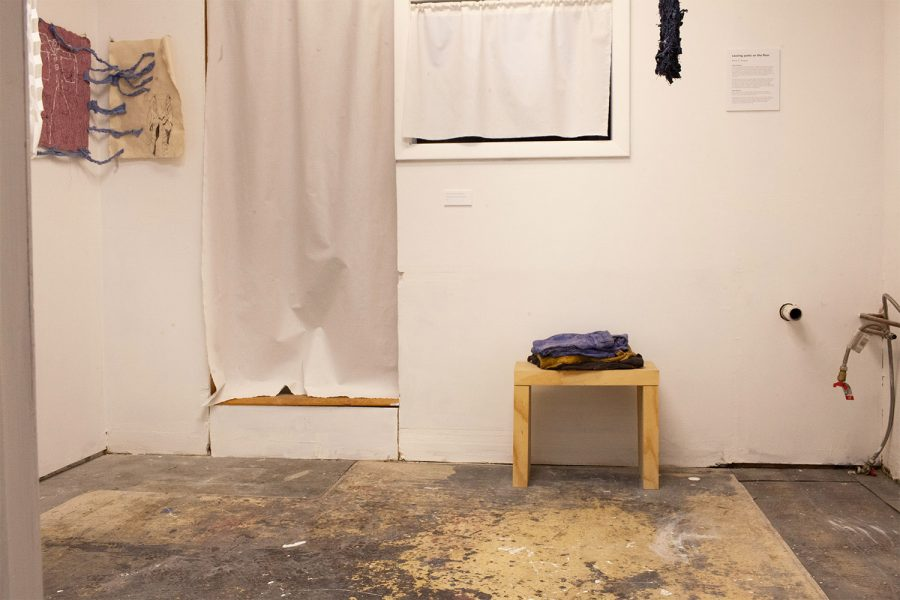 "Anne S. Rogers gallery show ""pants on the floor"" is the first show in the Queer Iowan Artist series. The Art Gallery at the Wesley Center is seen on January 28 2021."