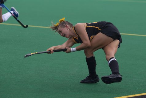 Iowa forward Maddy Murphy drives the ball up the field during a field hockey game between Iowa and Duke at Grant Field on Sunday, September 15, 2019. The Hawkeyes were defeated by the Blue Devils, 2-1 after two overtime periods.