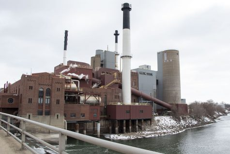 The Iowa City Power Plant is seen on Wednesday, Feb. 24, 2021. Because the University of Iowa does not rely on one resource for energy, it uses the power plant as a supplementary energy source to help prevent large energy and electric outages.