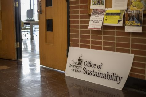 The sign for the Office of Sustainability sits outside its new location on Tuesday, Jan. 29, 2019. The office recently moved to communications building.
