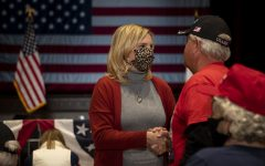 Republican candidate for Iowas 1st Congressional District Ashley Hinson greets an attendee before a Trump rally with Donald Trump Jr. on Tuesday, Oct. 27, 2020 at the Veterans Memorial Coliseum in Cedar Rapids. Trump Jr. encouraged around 200 people who were in attendance to vote in the upcoming election and to support all of the Republican candidates on the ballot.