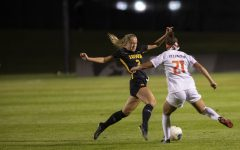 Iowa midfielder Hailey Rydberg tries to block a pass during a soccer game between Iowa and Illinois on Sept. 26, 2019 at the Iowa Soccer Complex. The Hawkeyes defeated the Fighting Illini, 3-1.