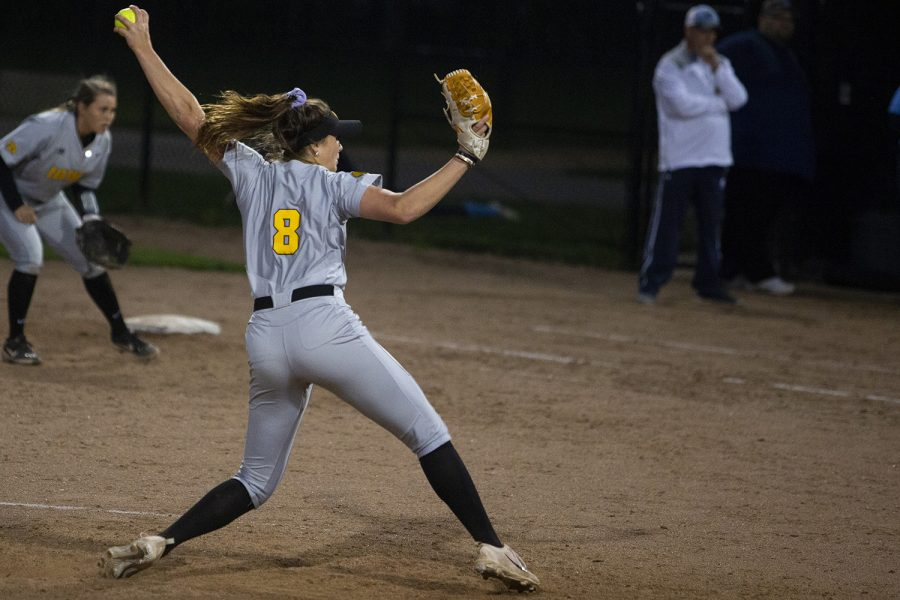 Iowa pitcher Lauren Shaw throws a pitch during an Iowa softball game against Iowa Central at Pearl Field on Friday, October 4, 2019. The Hawkeyes defeated the Tritons 4-0 in 10 innings.