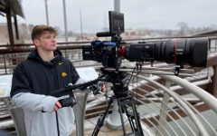 Photo of Stewart Brown filming for Hawk Vision. Contributed.