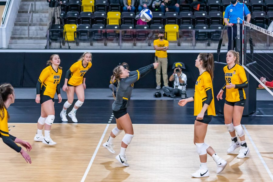 Iowa Defensive Specialist Joslyn Boyer bumps the ball during the Iowa Volleyball game against Indiana on Feb. 6, 2021 at Xtream Arena. Indiana defeated Iowa 3-2. (Casey Stone/The Daily Iowan)