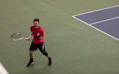 Iowa's Jason Kerst celebrates after scoring a point during the Iowa men's tennis meet v. Purdue at the Hawkeye Tennis and Recreation Complex on Sunday, Feb. 21, 2021. The Hawkeyes defeated the Boilermakers with a score of 4-0.