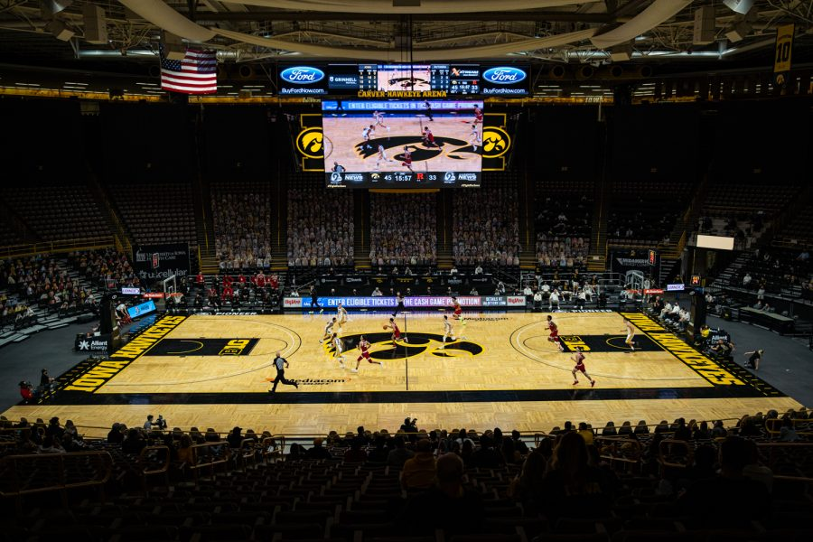 Action is underway during a men's basketball game between Iowa and Rutgers at Carver-Hawkeye Arena on Wednesday, Feb. 10, 2021. The Hawkeyes defeated the Scarlet Knights, 79-66.