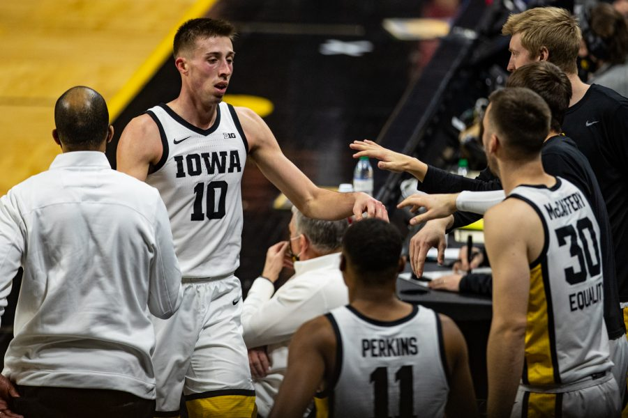 Iowa's Joe Wieskamp walks to the bench during a men's basketball game between Iowa and Rutgers at Carver-Hawkeye Arena on Wednesday, Feb. 10, 2021. The Hawkeyes defeated the Scarlet Knights, 79-66.