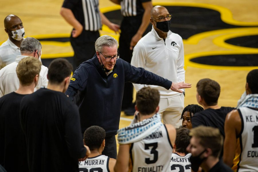 Iowa's Head Coach Fran McCaffery yells at his team during an Iowa men's basketball game against Nebraska on Thursday, March 4, 2021 at Carver-Hawkeye arena. The Hawks beat the Cornhuskers, 102-64.
