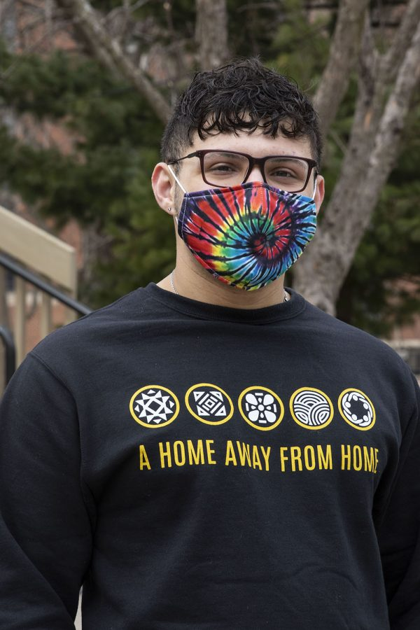 Joseph Villalobos poses for a portrait outside of the Pride Alliance Center on March 12, 2021.