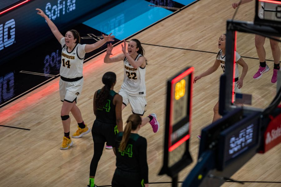 Iowa%E2%80%99s+McKenna+Warnock+%2814%29+and+Iowa+Guard+Caitlin+Clark+%2822%29+celebrate+their+win+after+a+semifinal+game+of+the+Big+Ten+women%E2%80%99s+basketball+tournament.+Iowa%2C+ranked+No.+6%2C+took+on+No.+7+seeded+Michigan+State+in+Indianapolis+at+the+Bankers+Life+Fieldhouse+Friday+afternoon.+The+Hawks+beat+the+Spartans%2C+87-72%2C+advancing+the+Hawks+to+take+on+Maryland+Saturday+in+the+Big+10+finals.