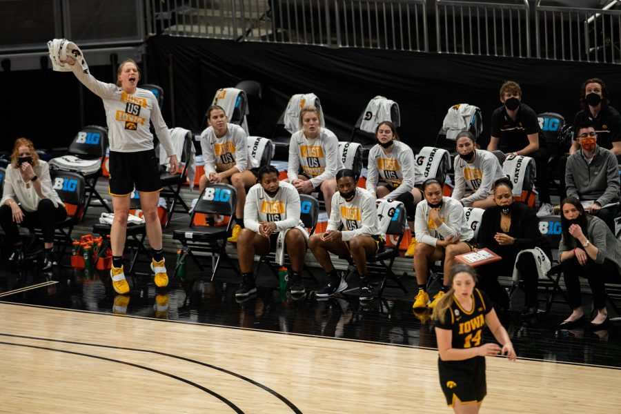 Iowa%27s+Sharon+Goodman+cheers+on+her+teammates+from+the+bench+during+the+championship+game+of+the+Big+Ten+women%E2%80%99s+basketball+tournament.+Iowa%2C+ranked+No.+6%2C+took+on+No.+1+seeded+Maryland+in+Indianapolis+at+the+Bankers+Life+Fieldhouse+Saturday+afternoon.+Maryland+beat+Iowa%2C+104-84%2C+securing+their+spot+as+the+2021+Big+Ten+Champions.+%28Kate+Heston%2FThe+Daily+Iowan%29